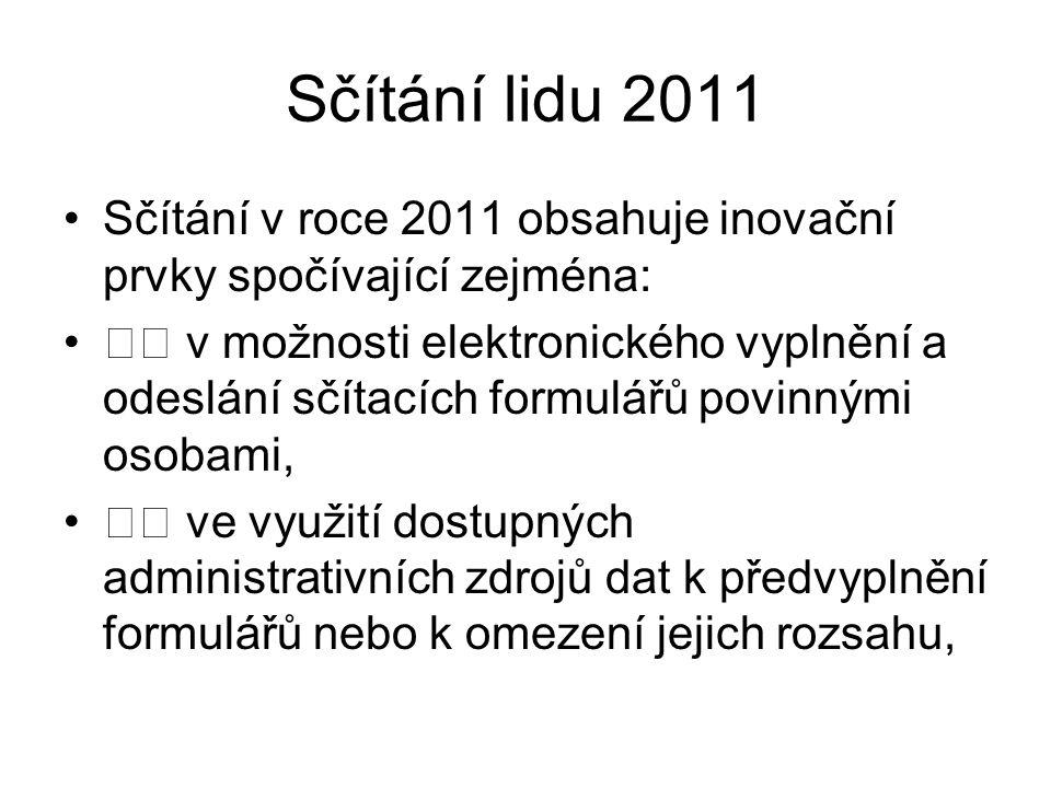 Sčítání lidu 2011 Sčítání v roce 2011 obsahuje inovační prvky spočívající zejména: