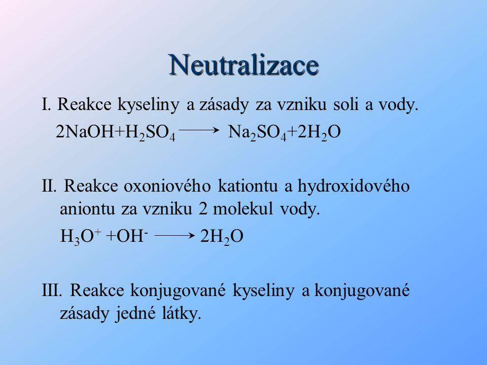 Neutralizace I. Reakce kyseliny a zásady za vzniku soli a vody.