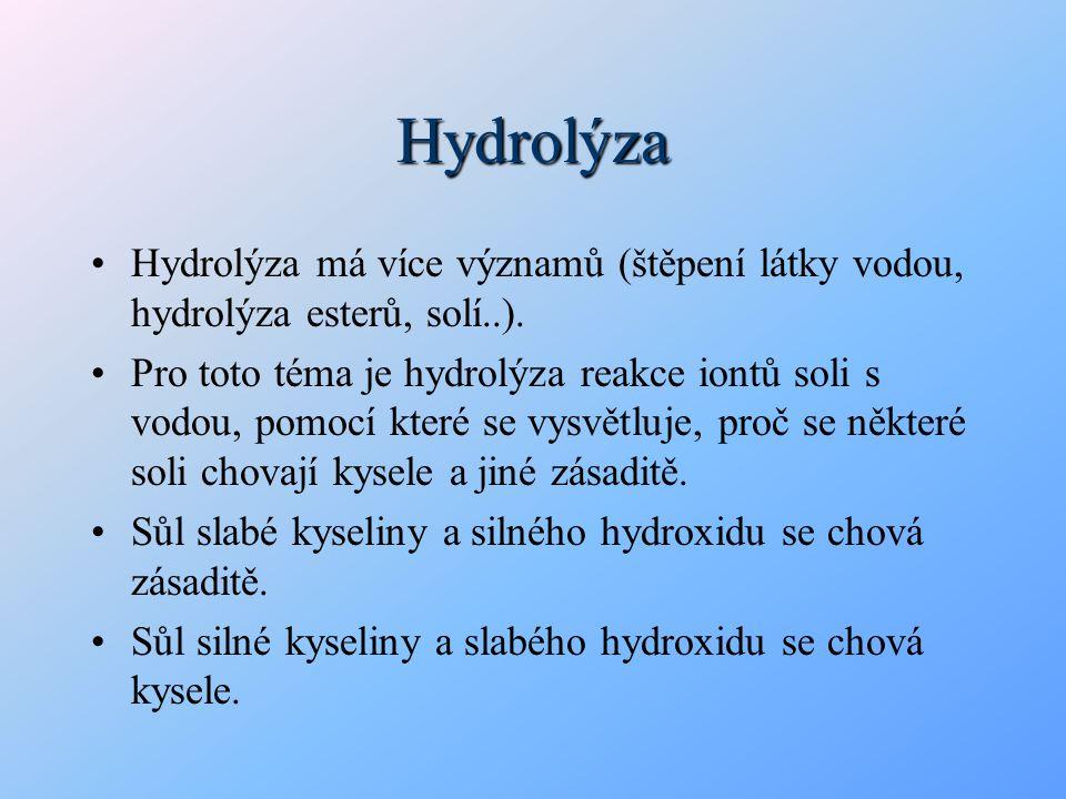 Hydrolýza Hydrolýza má více významů (štěpení látky vodou, hydrolýza esterů, solí..).