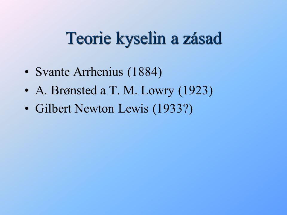 Teorie kyselin a zásad Svante Arrhenius (1884)