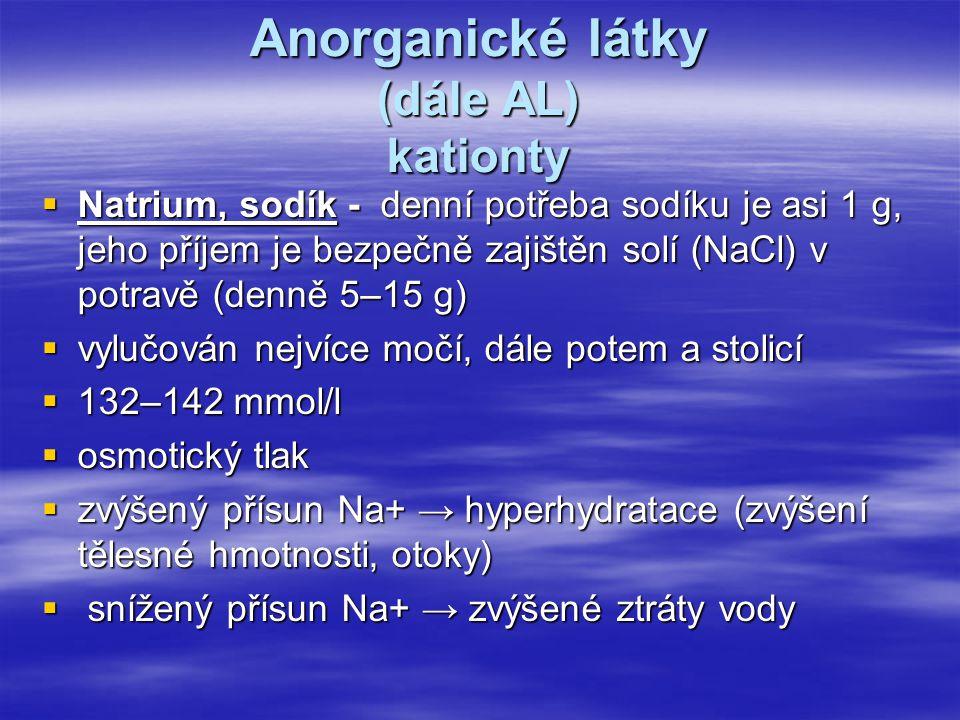 Anorganické látky (dále AL) kationty