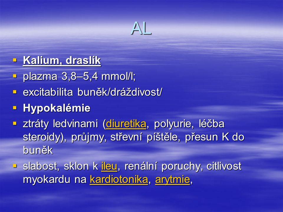 AL Kalium, draslík plazma 3,8–5,4 mmol/l;