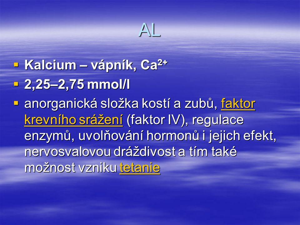 AL Kalcium – vápník, Ca2+ 2,25–2,75 mmol/l