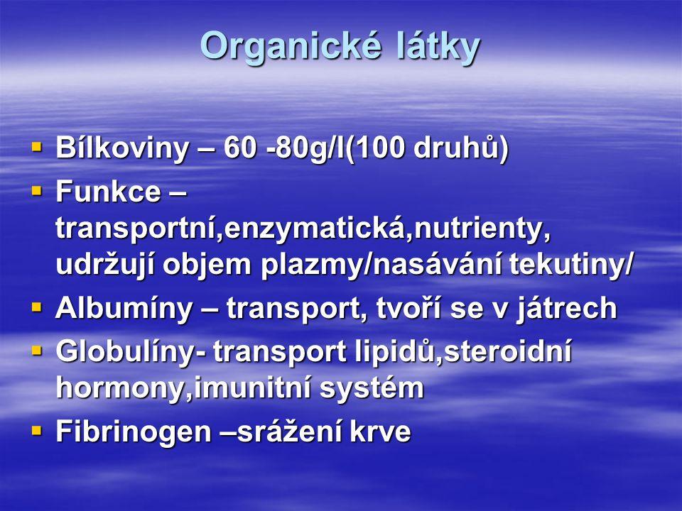 Organické látky Bílkoviny – 60 -80g/l(100 druhů)
