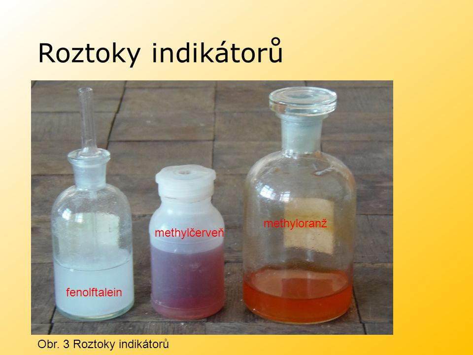 Roztoky indikátorů methyloranž methylčerveň fenolftalein