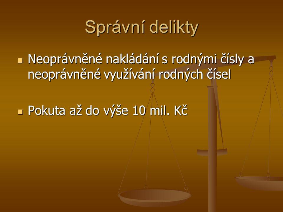 Správní delikty Neoprávněné nakládání s rodnými čísly a neoprávněné využívání rodných čísel.