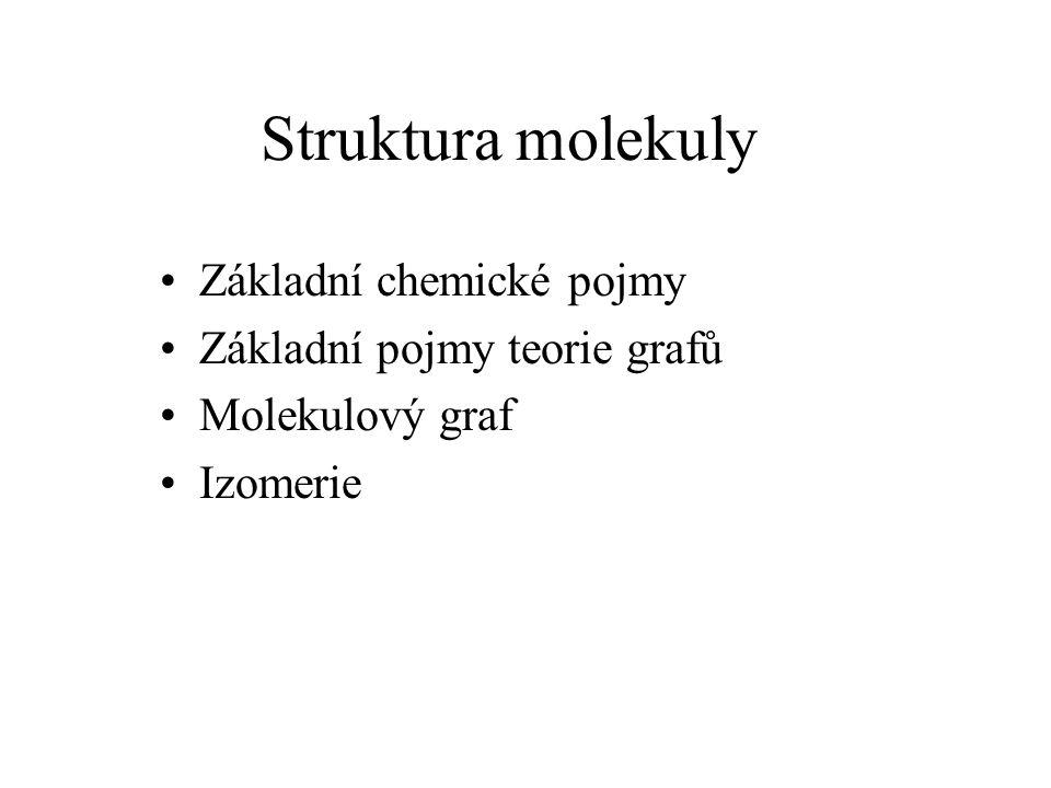 Struktura molekuly Základní chemické pojmy Základní pojmy teorie grafů
