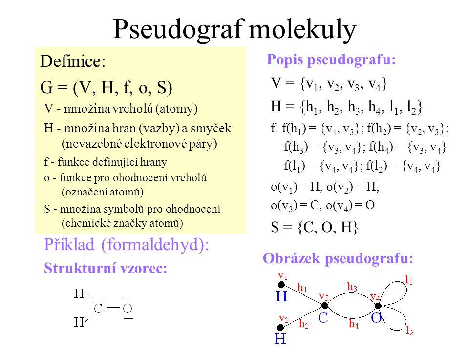 Pseudograf molekuly Definice: G = (V, H, f, o, S)