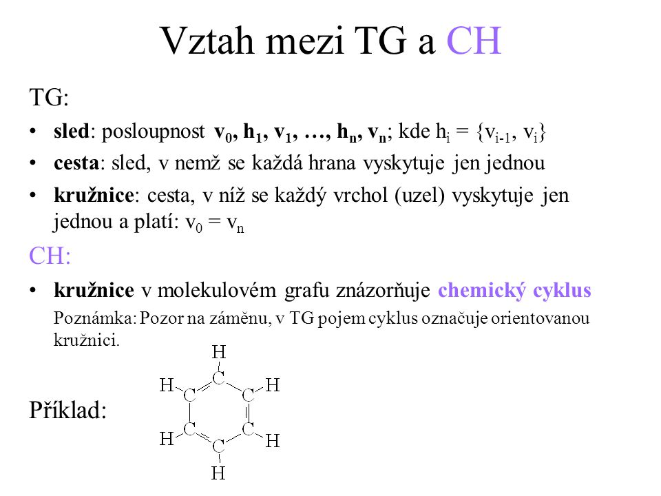 Vztah mezi TG a CH TG: CH: Příklad: