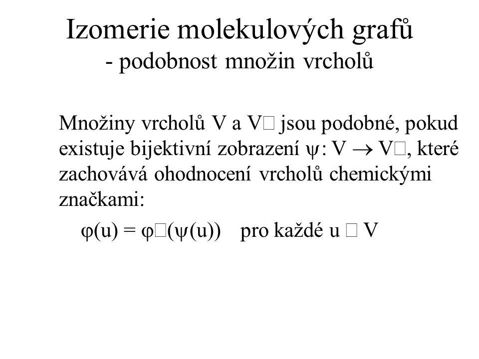Izomerie molekulových grafů - podobnost množin vrcholů