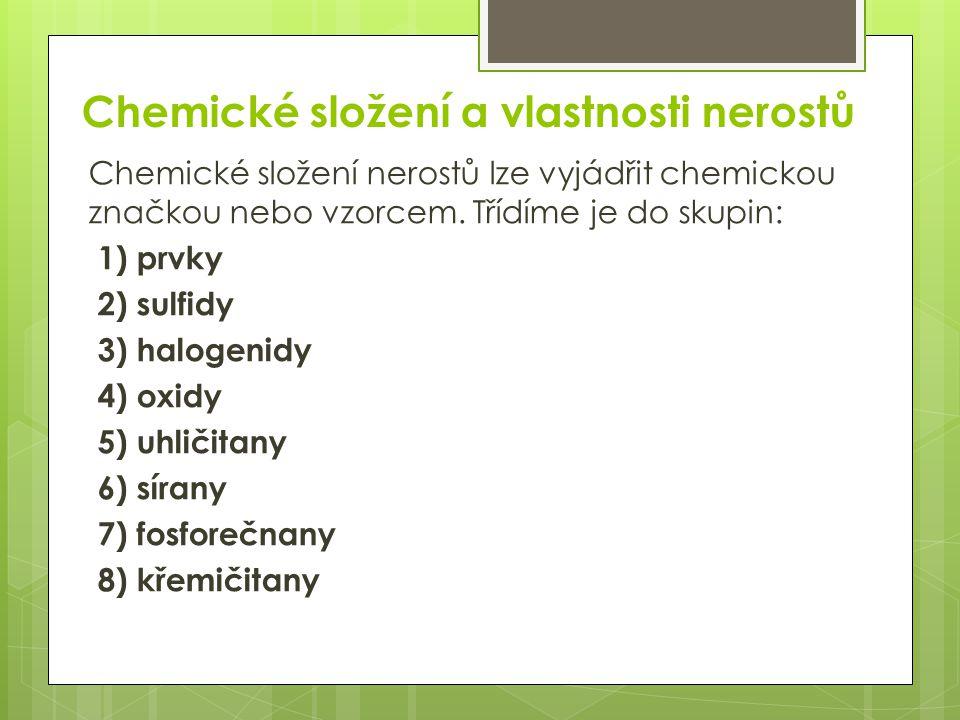 Chemické složení a vlastnosti nerostů