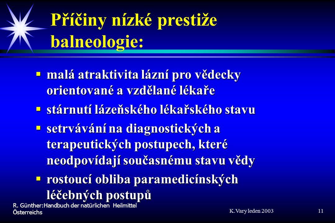 Příčiny nízké prestiže balneologie: