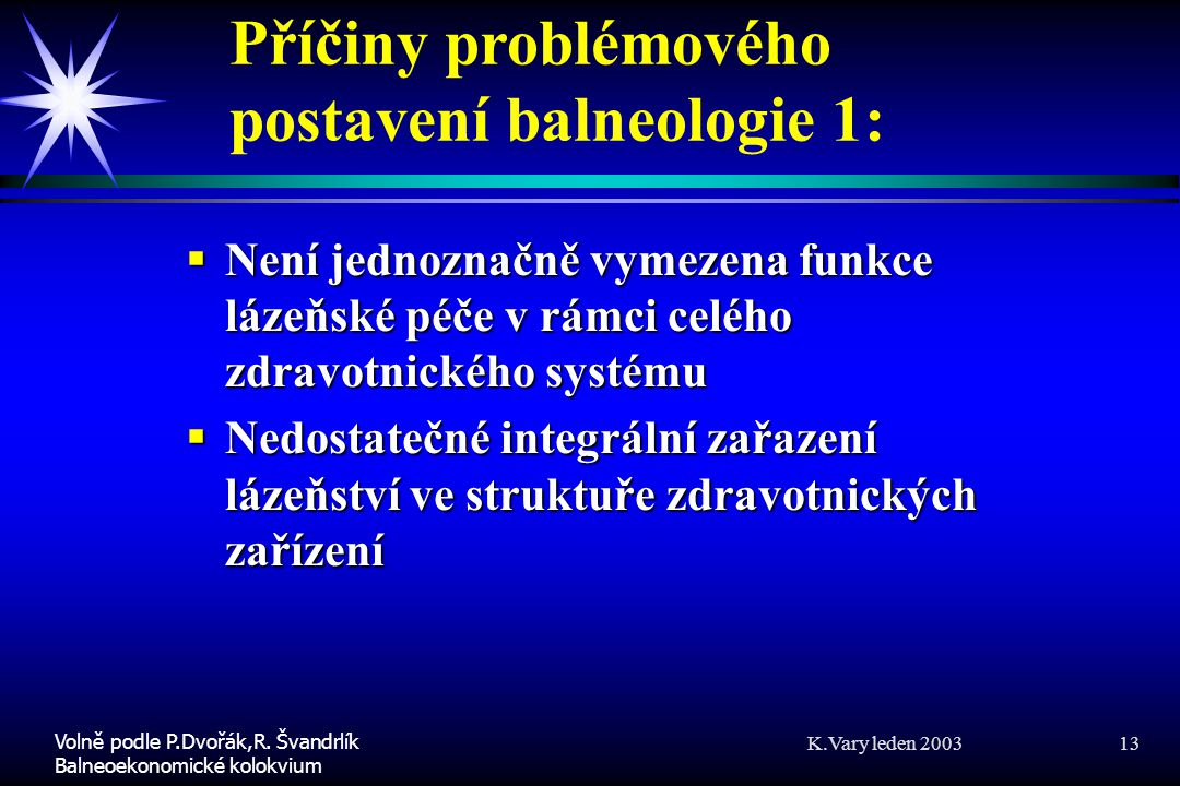 Příčiny problémového postavení balneologie 1:
