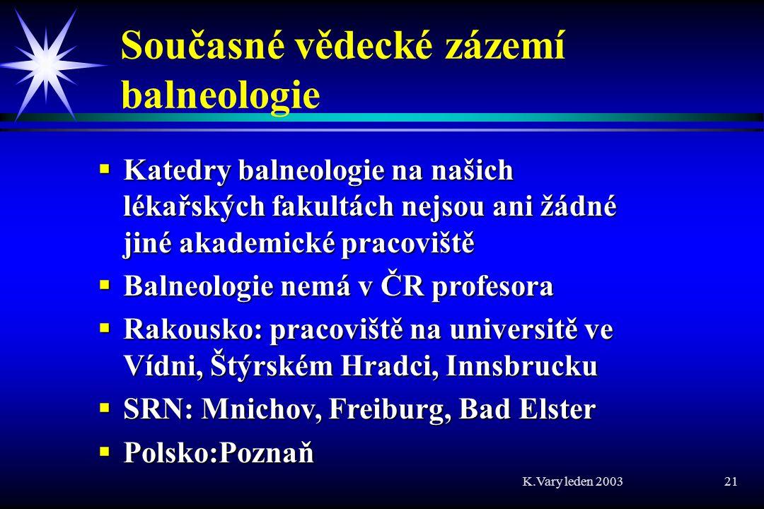 Současné vědecké zázemí balneologie