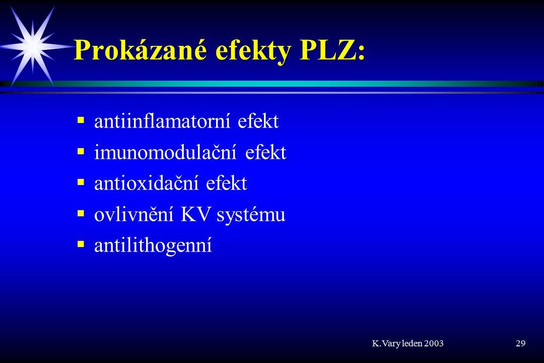 Prokázané efekty PLZ: antiinflamatorní efekt imunomodulační efekt
