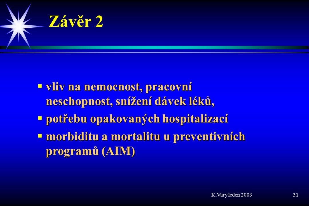 Závěr 2 vliv na nemocnost, pracovní neschopnost, snížení dávek léků,