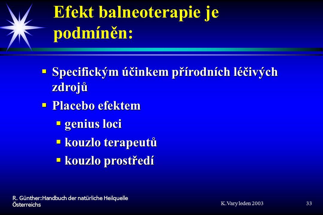 Efekt balneoterapie je podmíněn: