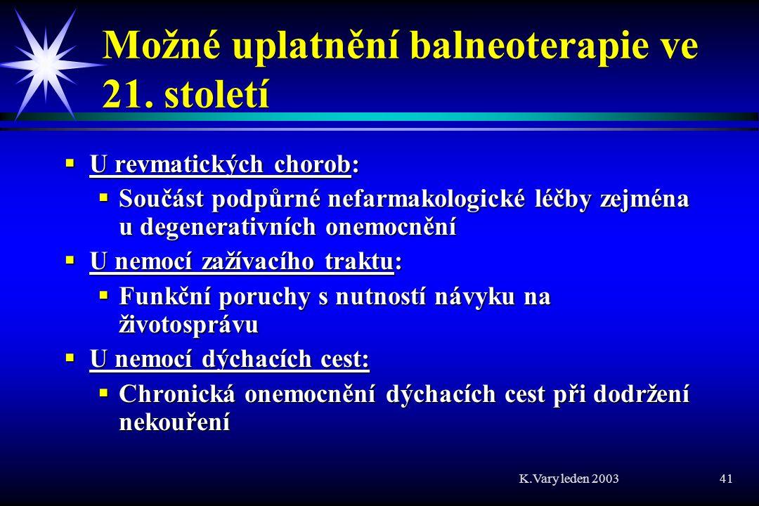 Možné uplatnění balneoterapie ve 21. století