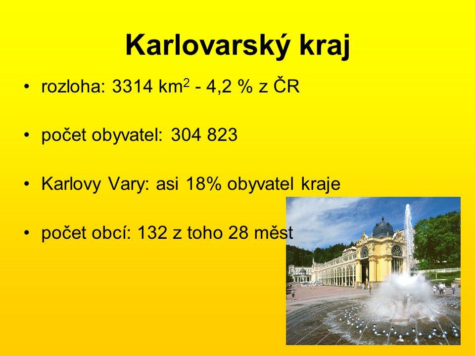 Karlovarský kraj rozloha: 3314 km2 - 4,2 % z ČR