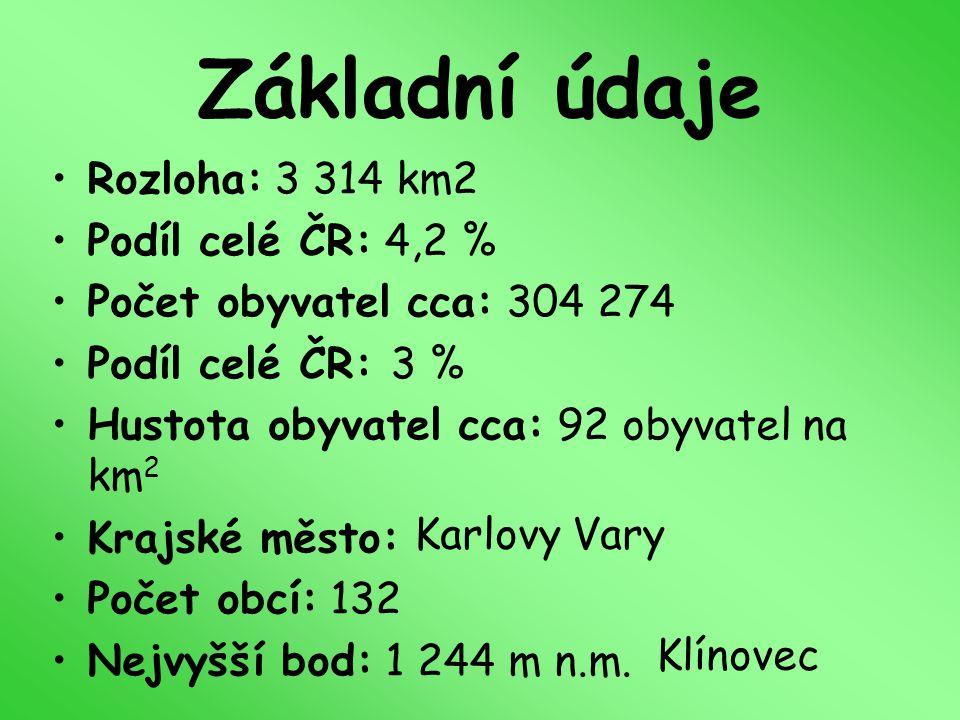 Základní údaje Rozloha: 3 314 km2 Podíl celé ČR: 4,2 %