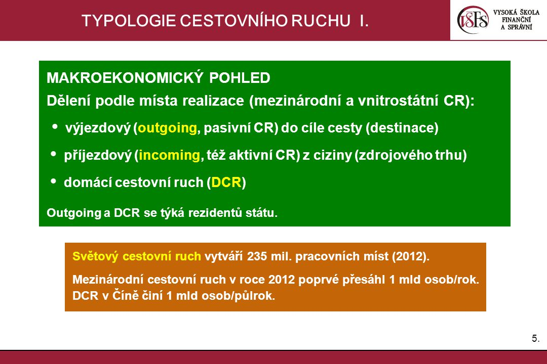 TYPOLOGIE CESTOVNÍHO RUCHU I.
