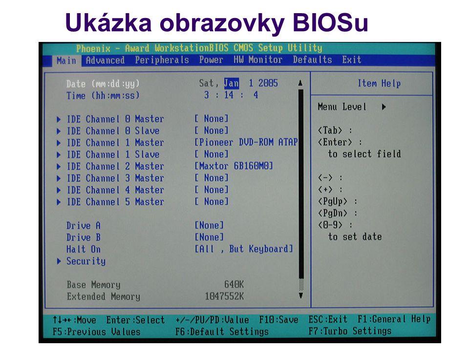 Ukázka obrazovky BIOSu
