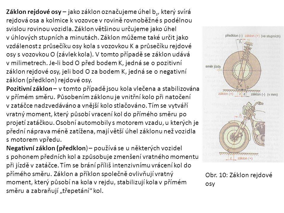 Záklon rejdové osy – jako záklon označujeme úhel bz, který svírá rejdová osa a kolmice k vozovce v rovině rovnoběžné s podélnou svislou rovinou vozidla. Záklon většinou určujeme jako úhel v úhlových stupních a minutách. Záklon můžeme také určit jako vzdálenost z průsečíku osy kola s vozovkou K a průsečíku rejdové osy s vozovkou O (závlek kola). V tomto případě se záklon udává v milimetrech. Je-li bod O před bodem K, jedná se o pozitivní záklon rejdové osy, jeli bod O za bodem K, jedná se o negativní záklon (předklon) rejdové osy.