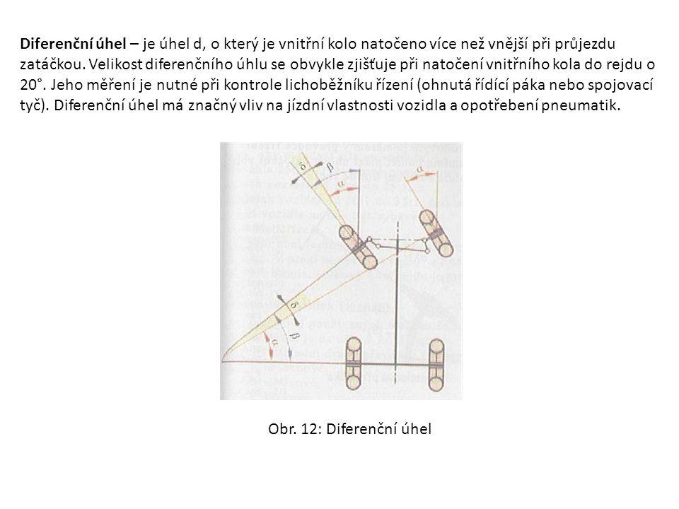 Diferenční úhel – je úhel d, o který je vnitřní kolo natočeno více než vnější při průjezdu zatáčkou. Velikost diferenčního úhlu se obvykle zjišťuje při natočení vnitřního kola do rejdu o 20°. Jeho měření je nutné při kontrole lichoběžníku řízení (ohnutá řídící páka nebo spojovací tyč). Diferenční úhel má značný vliv na jízdní vlastnosti vozidla a opotřebení pneumatik.