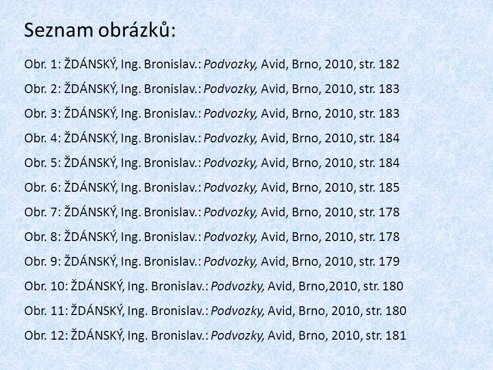 Seznam obrázků: Obr. 1: ŽDÁNSKÝ, Ing. Bronislav.: Podvozky, Avid, Brno, 2010, str. 182.