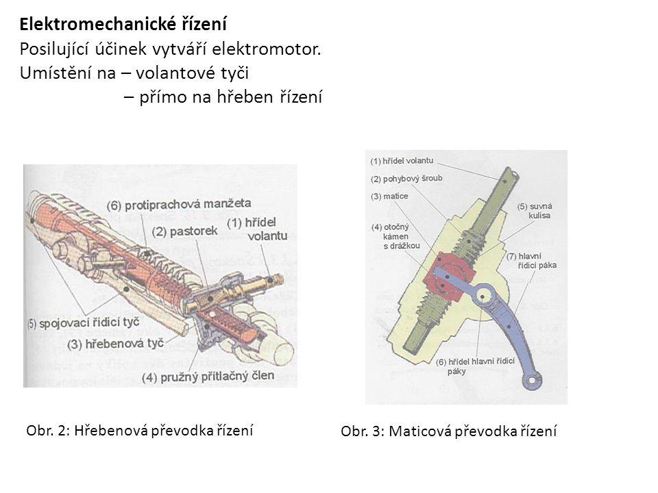 Elektromechanické řízení Posilující účinek vytváří elektromotor.