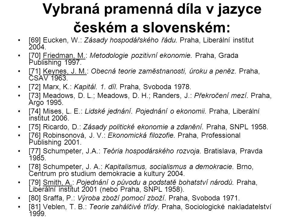 Vybraná pramenná díla v jazyce českém a slovenském:
