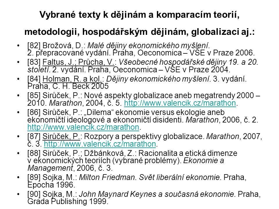 Vybrané texty k dějinám a komparacím teorií, metodologii, hospodářským dějinám, globalizaci aj.: