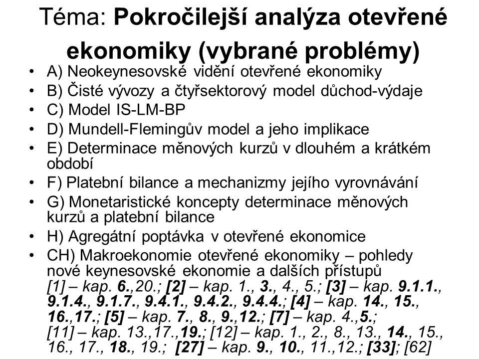 Téma: Pokročilejší analýza otevřené ekonomiky (vybrané problémy)