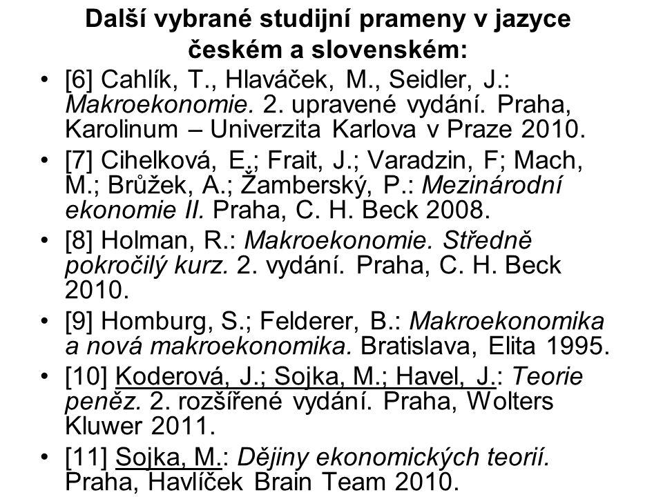 Další vybrané studijní prameny v jazyce českém a slovenském: