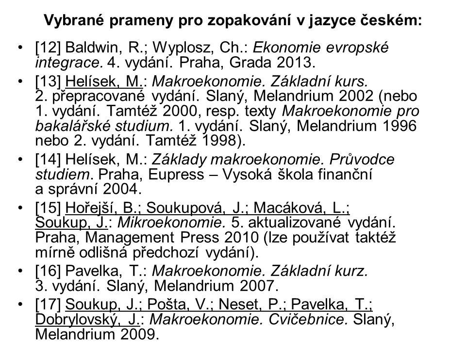 Vybrané prameny pro zopakování v jazyce českém: