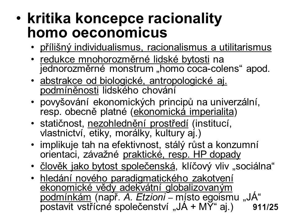 kritika koncepce racionality homo oeconomicus