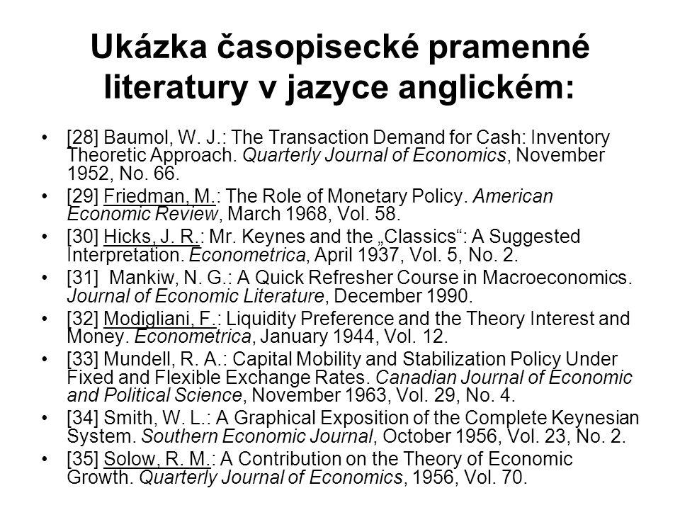 Ukázka časopisecké pramenné literatury v jazyce anglickém: