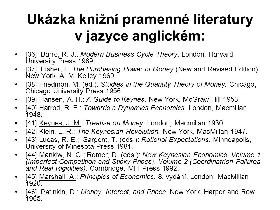 Ukázka knižní pramenné literatury v jazyce anglickém: