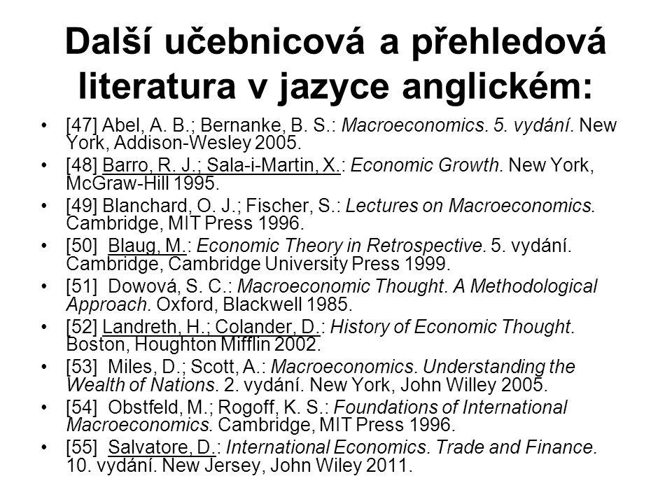 Další učebnicová a přehledová literatura v jazyce anglickém: