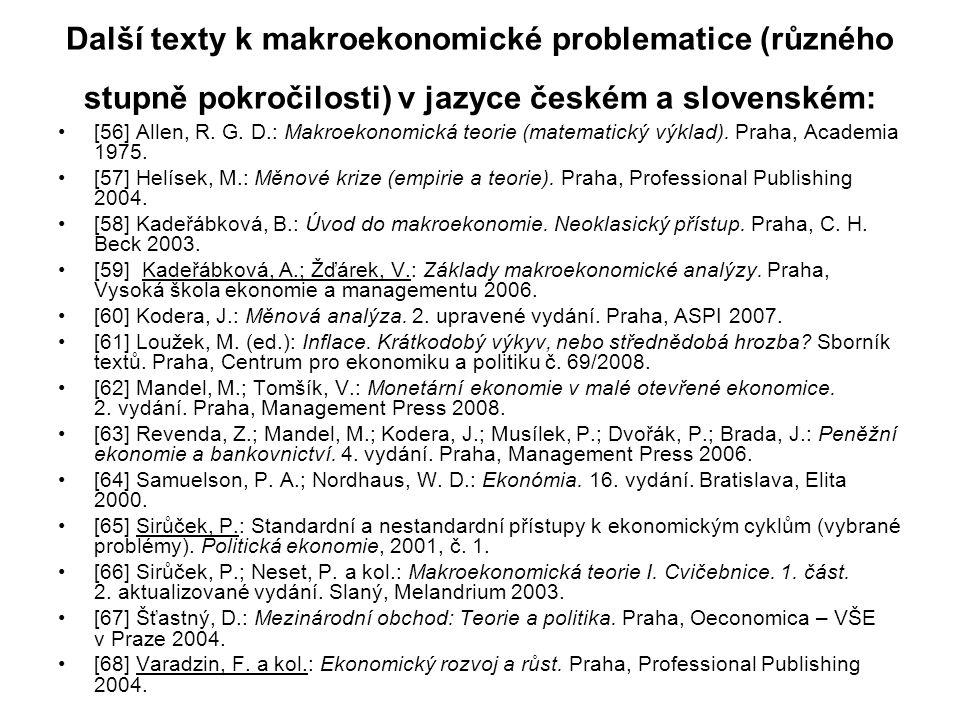 Další texty k makroekonomické problematice (různého stupně pokročilosti) v jazyce českém a slovenském: