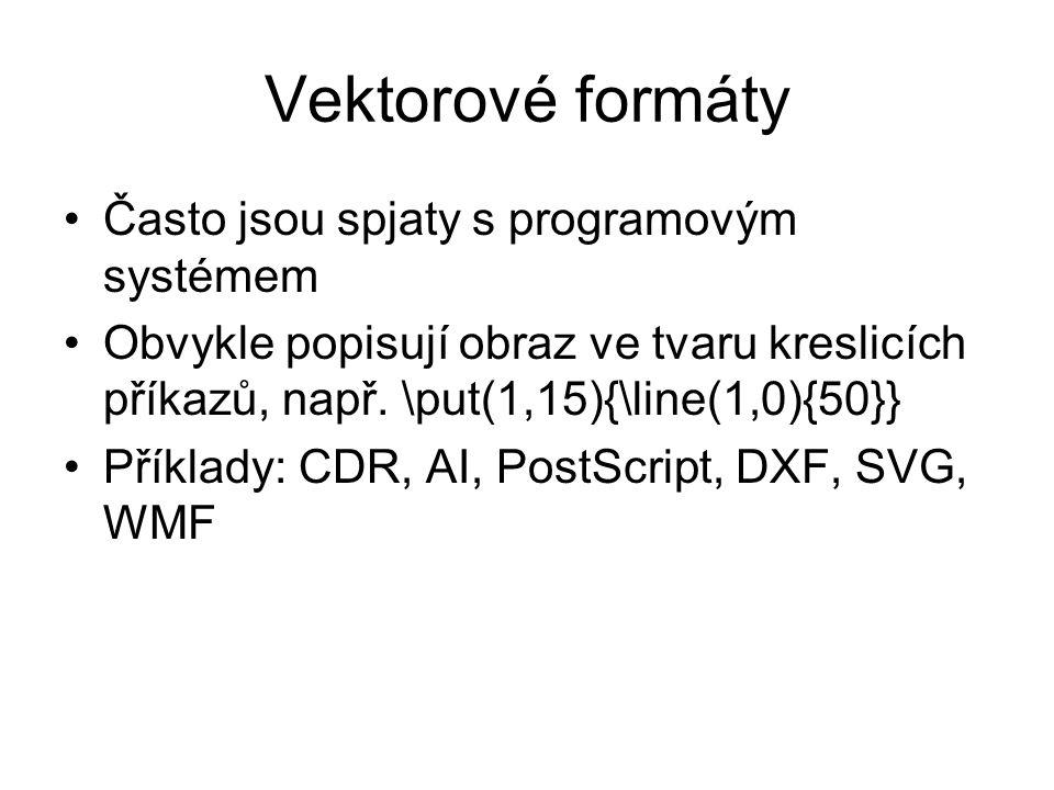 Vektorové formáty Často jsou spjaty s programovým systémem