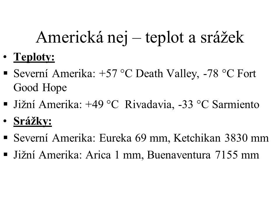 Americká nej – teplot a srážek