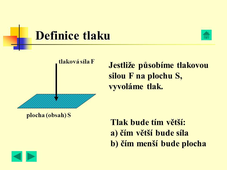 Definice tlaku tlaková síla F. Jestliže působíme tlakovou silou F na plochu S, vyvoláme tlak. plocha (obsah) S.