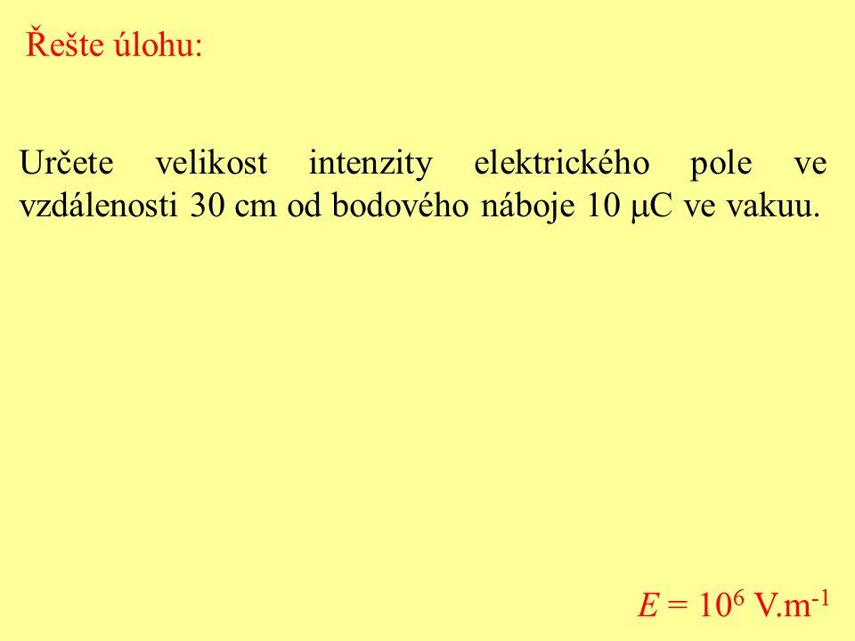 Řešte úlohu: Určete velikost intenzity elektrického pole ve vzdálenosti 30 cm od bodového náboje 10 mC ve vakuu.