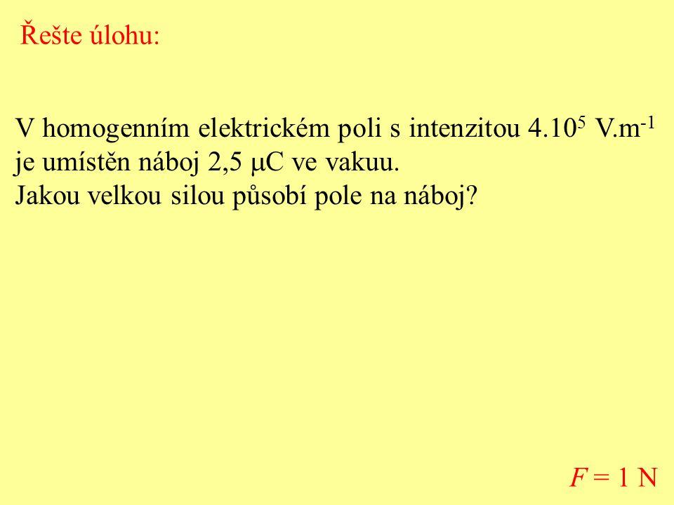 Řešte úlohu: V homogenním elektrickém poli s intenzitou 4.105 V.m-1 je umístěn náboj 2,5 mC ve vakuu.