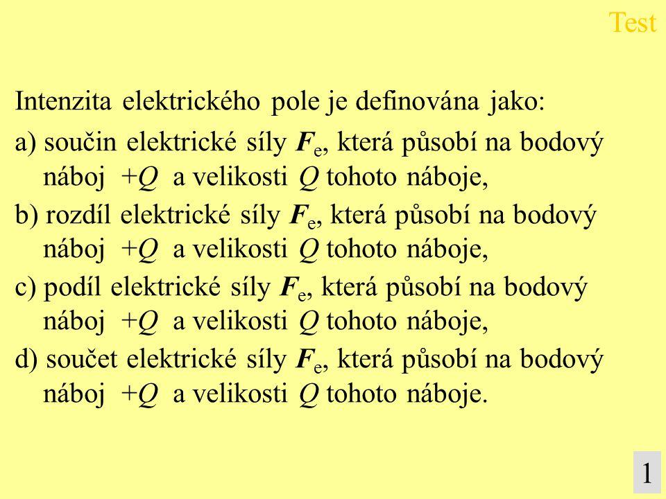 Test 1 Intenzita elektrického pole je definována jako: