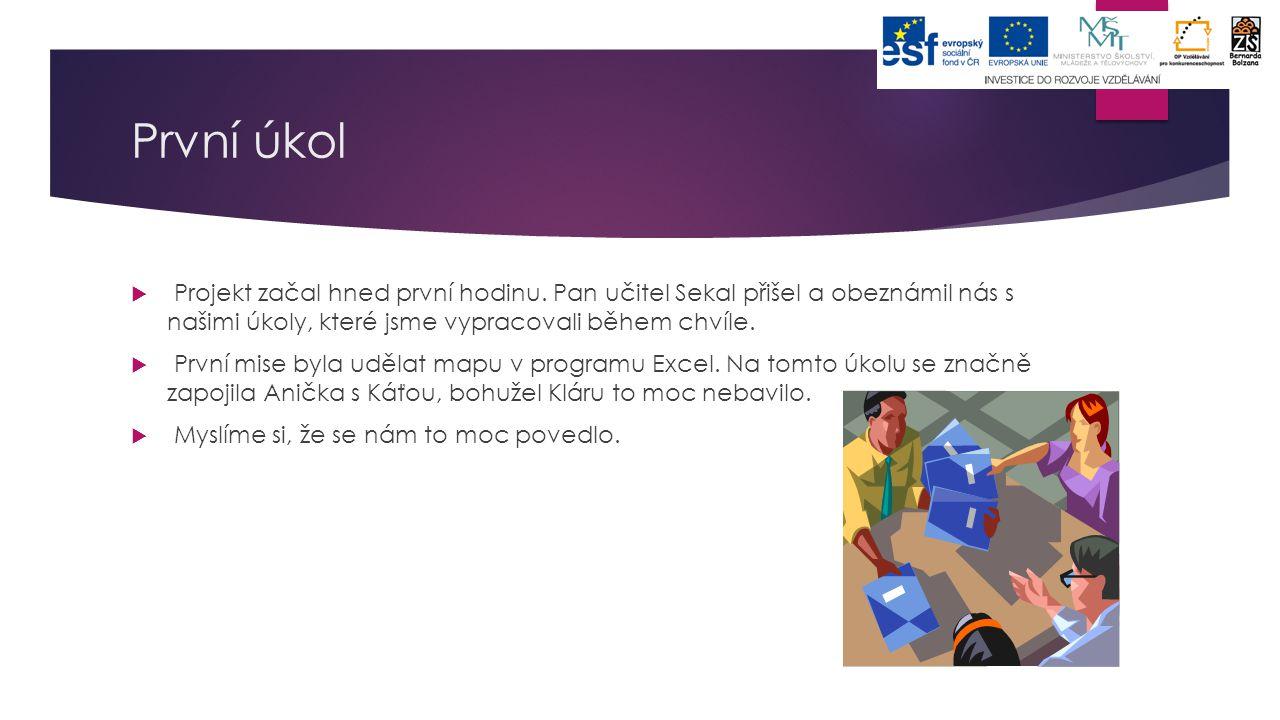 První úkol Projekt začal hned první hodinu. Pan učitel Sekal přišel a obeznámil nás s našimi úkoly, které jsme vypracovali během chvíle.