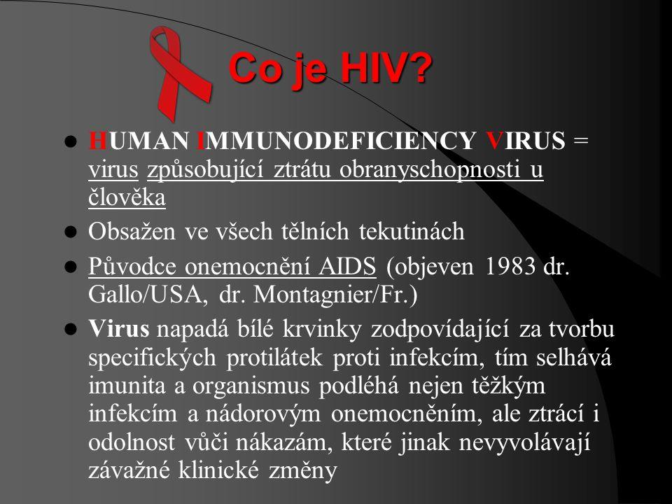 Co je HIV HUMAN IMMUNODEFICIENCY VIRUS = virus způsobující ztrátu obranyschopnosti u člověka. Obsažen ve všech tělních tekutinách.