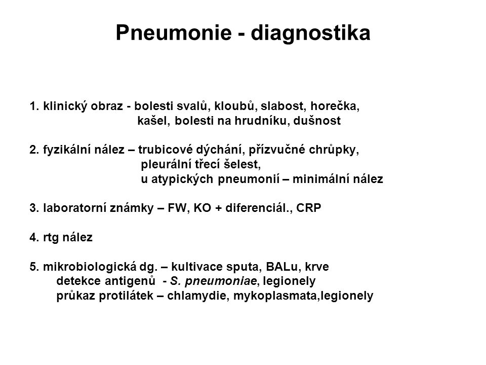 Pneumonie - diagnostika