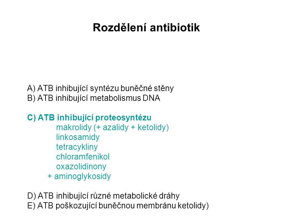 Rozdělení antibiotik A) ATB inhibující syntézu buněčné stěny